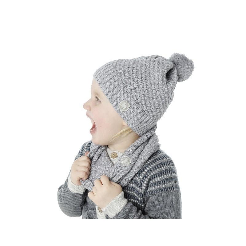 f7b45cdc2ce83 Bonnet pour enfant en laine mérinos Texel, gris
